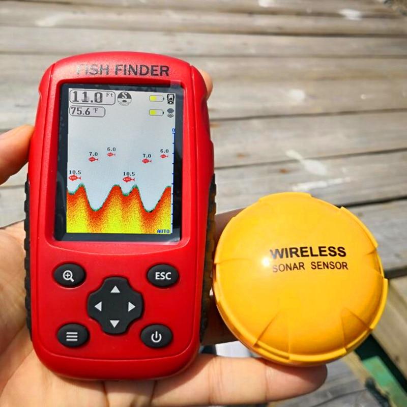Echosonda FFW718 ulepszony akumulator i kolorowy bezprzewodowy przenośny lokalizator ryb 40 M/120FT Alarm głębokości sonaru Ocean River Lake