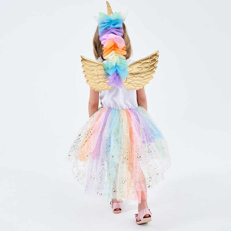 Vestido de unicornio arcoíris para niñas Cosplay disfraz de graduación niños princesa vestidos de encaje juego de alas de aro de pelo Halloween fiesta tutú