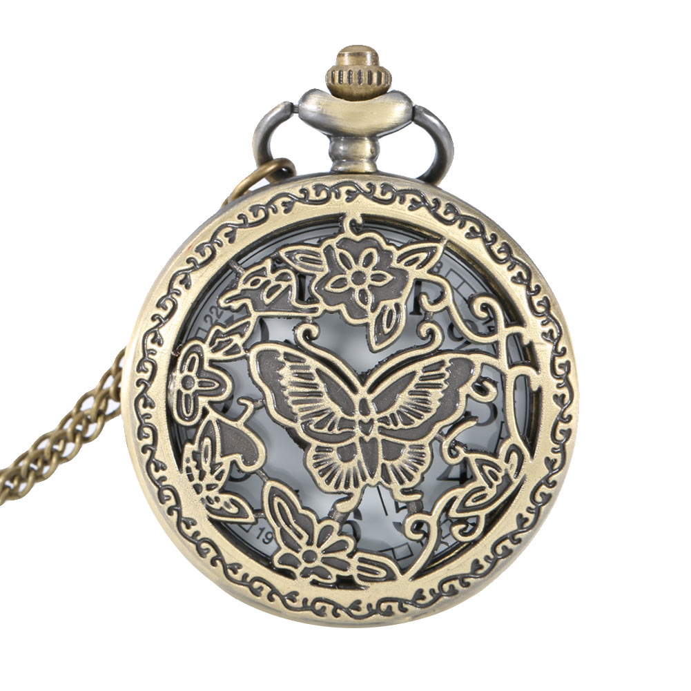 Fashion Clock Vintage Butterfly Flower Hollow Out Cover Quartz Pocket Watch Pendant Necklace Sweater Chain Timer