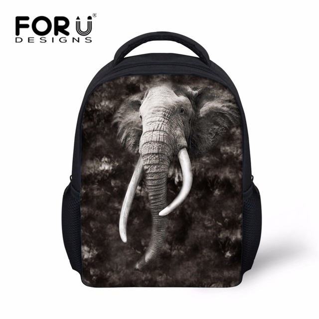 FORUDESIGNS Cool Toddler Kids Elephant Backpack Small 3D Tiger Head  Preschool Bookbag Mini Child Baby Backbag Polyester Fabric