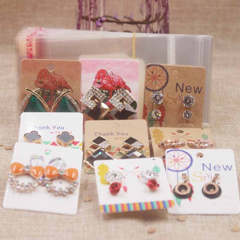 Zerong Multi Design Full Color Print Jewerly Earring Package Cards Dreamcatcher Earring Card Tag Thank You Cards25pcs+25opp Bag