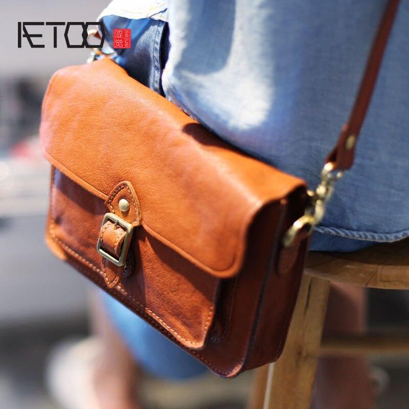 AETOO Handmade cowhide retro envelope bag simple oblique postman bag college bag shoulder bag original leather clamshell small s