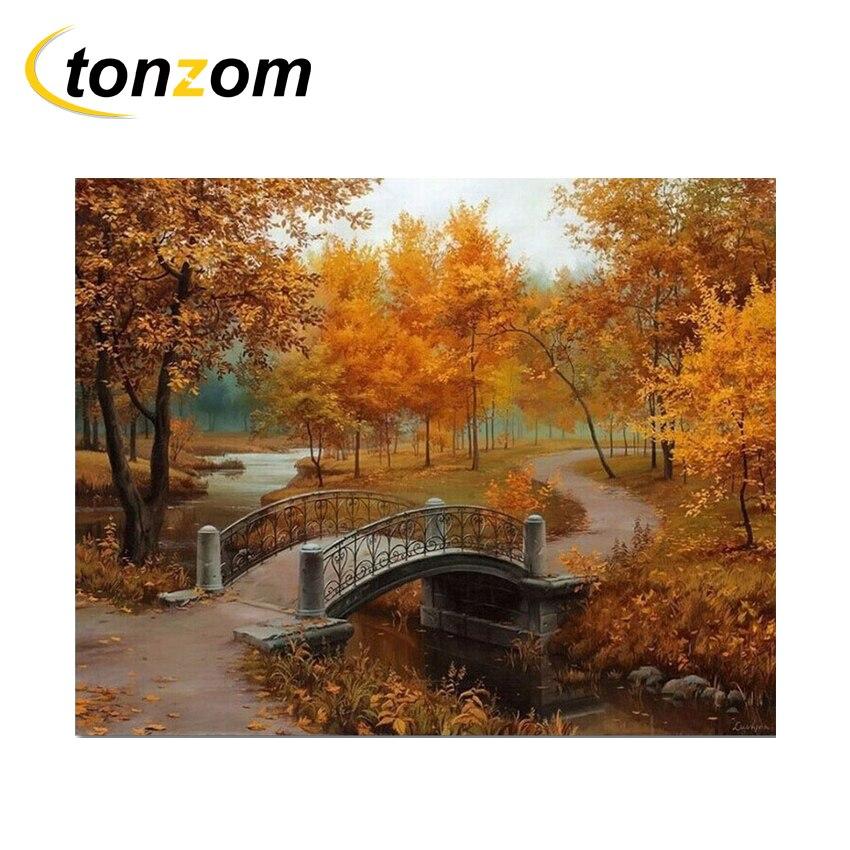 RIHE Autumn Park Diy Painting By Numbers Bridge Oil Cuadros Decoracion Acrylic Paint On Canvas Modern Wall Art Gift