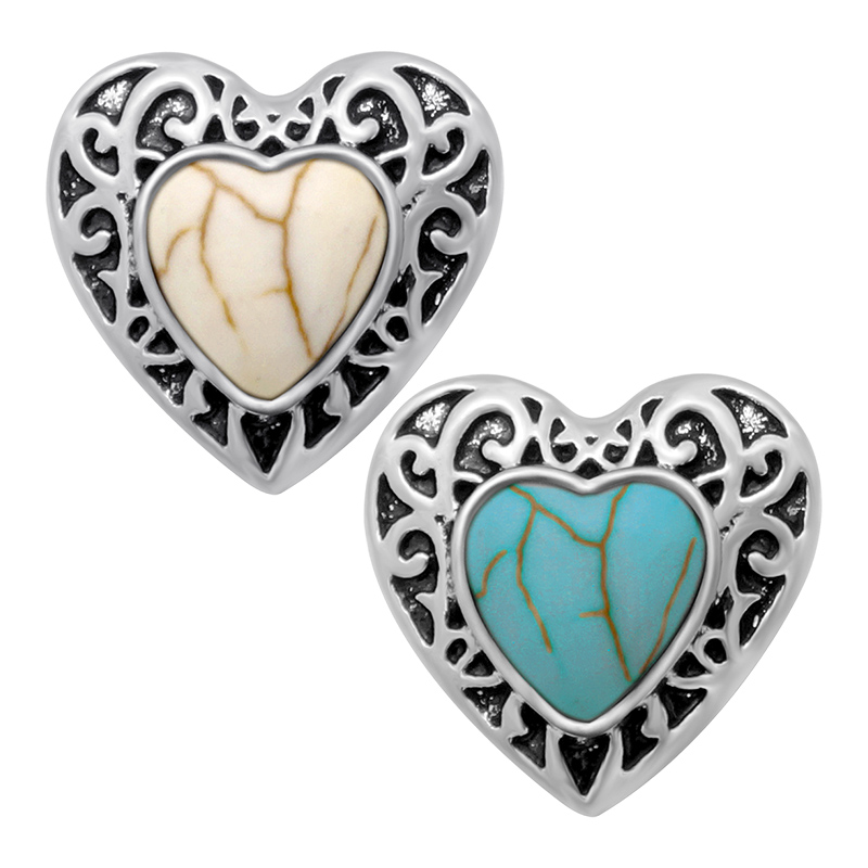 Hot KZ1172 Charm Retro Heart 18mm snap buttons fit DIY snaps Bangles bracelets necklaces jewelry wholesale trendy women