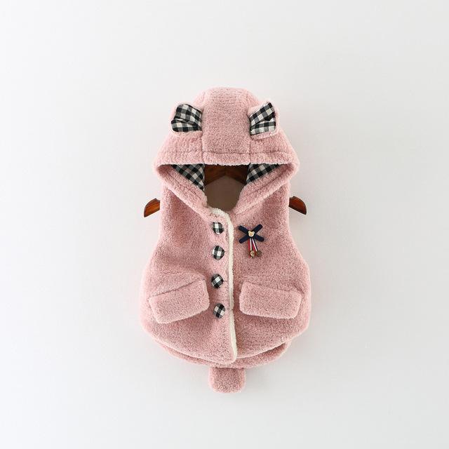 2016 Do Sexo Feminino Jaqueta de Algodão Grosso Single-breasted Arco Meninas Jaqueta Com Capuz Quente Colete Princesa Boutique Quente Colete Cardigan Quente