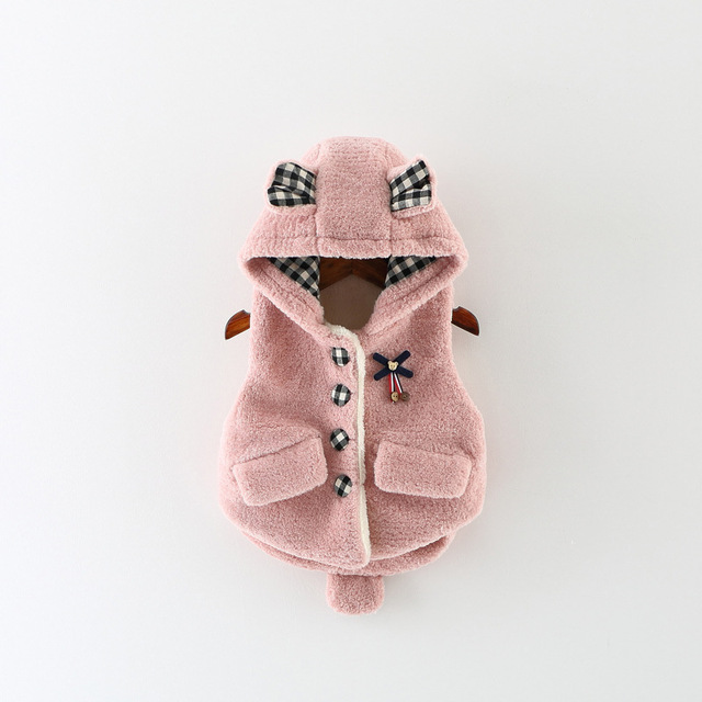 2016 Female Cotton Jacket Thick Single-breasted Bow Hooded Jacket Girls Warm Vest Princess Warm Vest Cardigan Hot Boutique