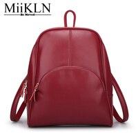 MiiKLN Red Black Yellow Blue Soft Leather Backpacks PU Zipper Vintage Small Mini Women S Backpack