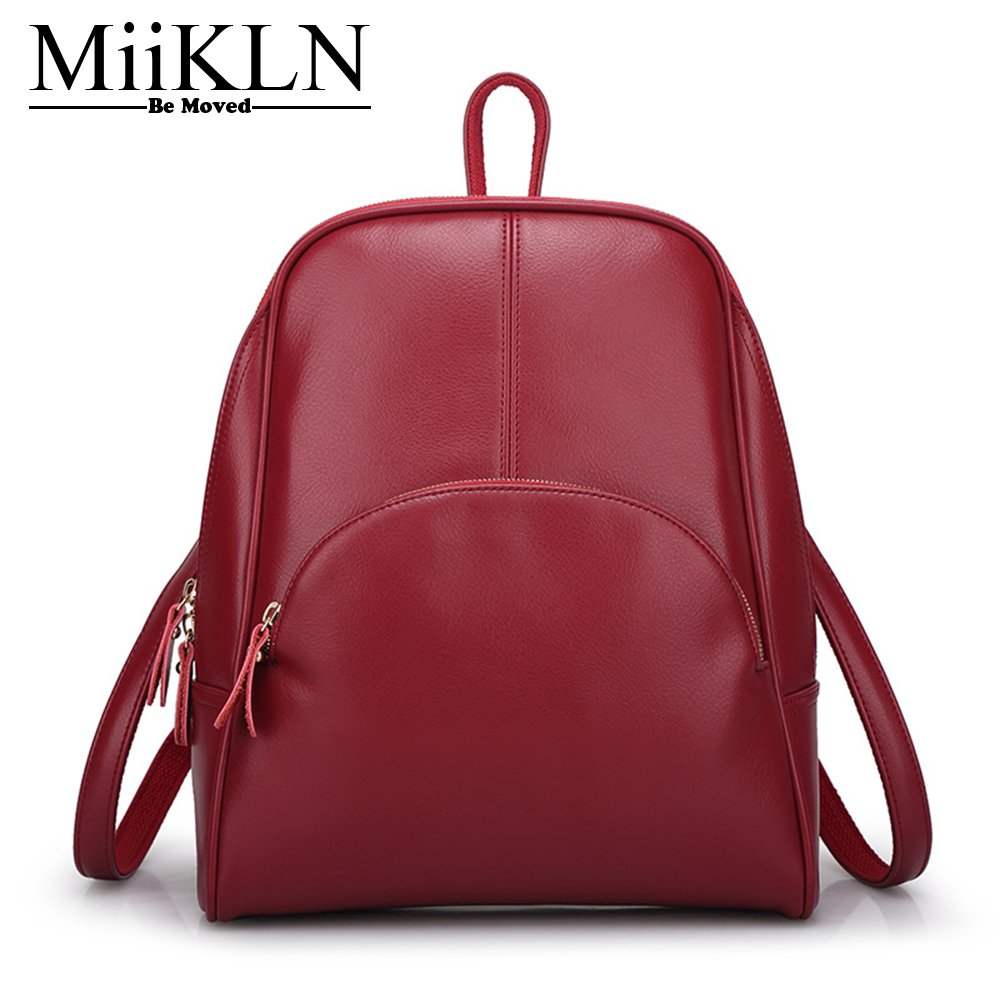 MiiKLN Red Black Yellow Blue Soft Leather Backpacks PU Zipper Vintage Small Mini Women`s Backpack For School Travel Bags