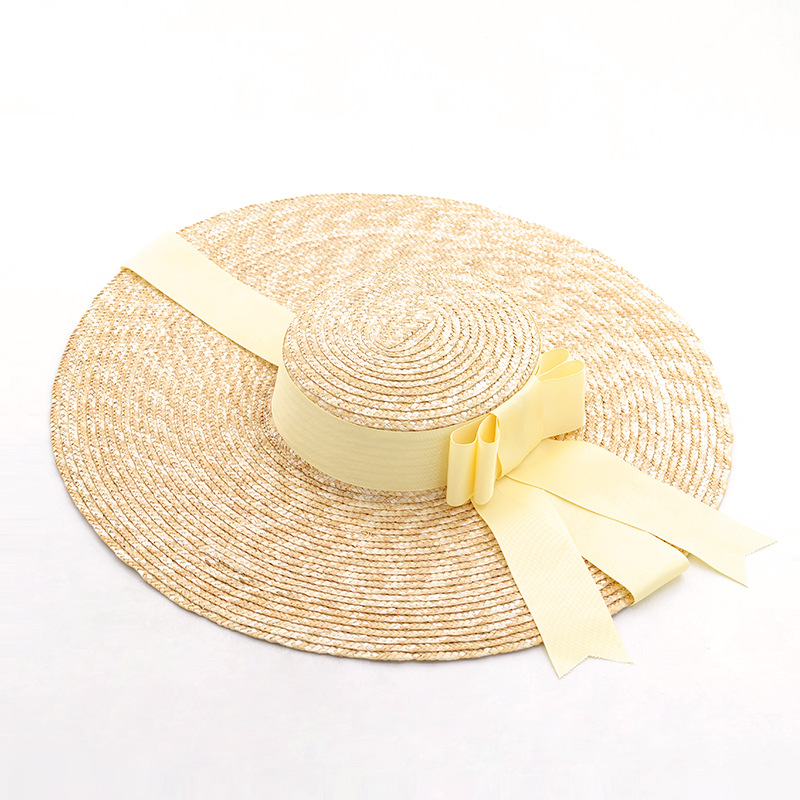 Natural wheat straw ribbon bow flat straw hat beach sunscreen