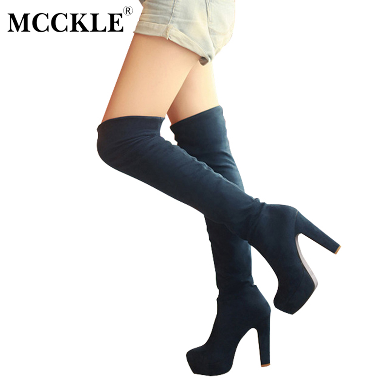MCCKLE 2017 New Women Boots Sexy Fashion Over the Knee Boots Thin Square Heel Black Boot