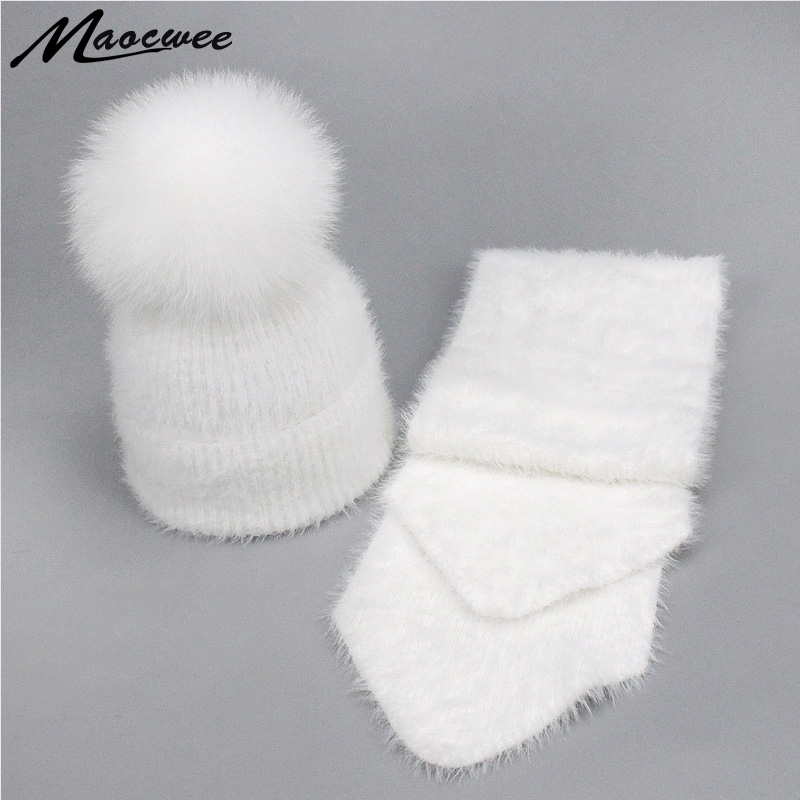 Winter Rabbit Fur   Beanies   Hats Scarves Sets Women Men Real Fox Fur Pompon Warm Soft Crochet Knitted Fur Hat Scarf   Skullies   Bones