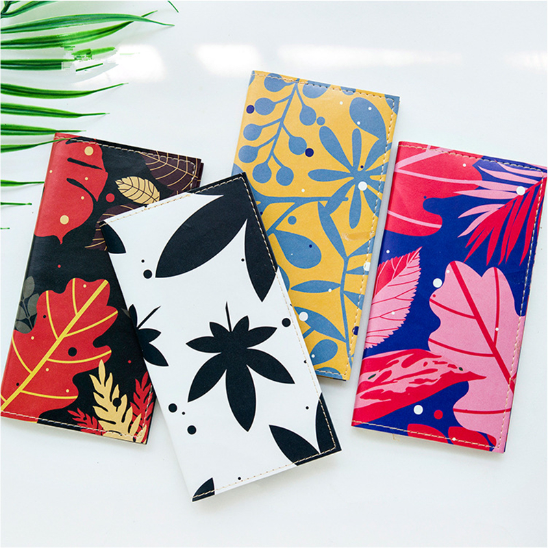 Japanese creative PU cortical notebook Forest leaves Loose leaf notebook Long Paperback Hand book Weekly Planner School supplies