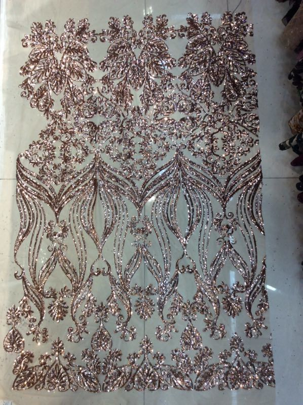 2018 New African Sequin Lace Fabric 5yard/lot Sewing Material High Quality Mesh Lace Fabric Rose Gold Latest Sequin Fabric-in Lace from Home & Garden    1