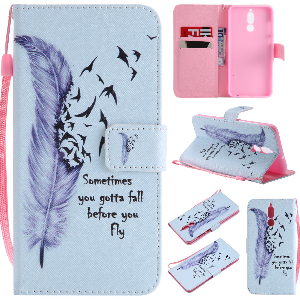 Leather Case Fundas Huawei Mate 10 Lite Case For Coque Mate 10 Lite Cat Painted Flip Wallet Phone Case Cover