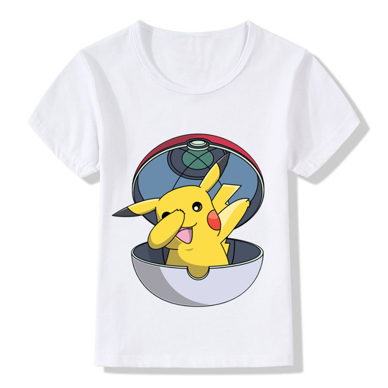 2018 New Casual Anime Pikachu Printing T-shirt Boys Girls Summer Tops Tees Children Clothing Tshirts