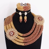Dudo магазин изысканные ювелирные наборы Золото Шампанское и белый круглый костюм комплект ювелирных изделий 3 ряда африканские хрустальные