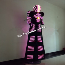 QZ07 RGB change color LED Robot Costume Nightclubs Party LED Clothing Light suits singer dance stage