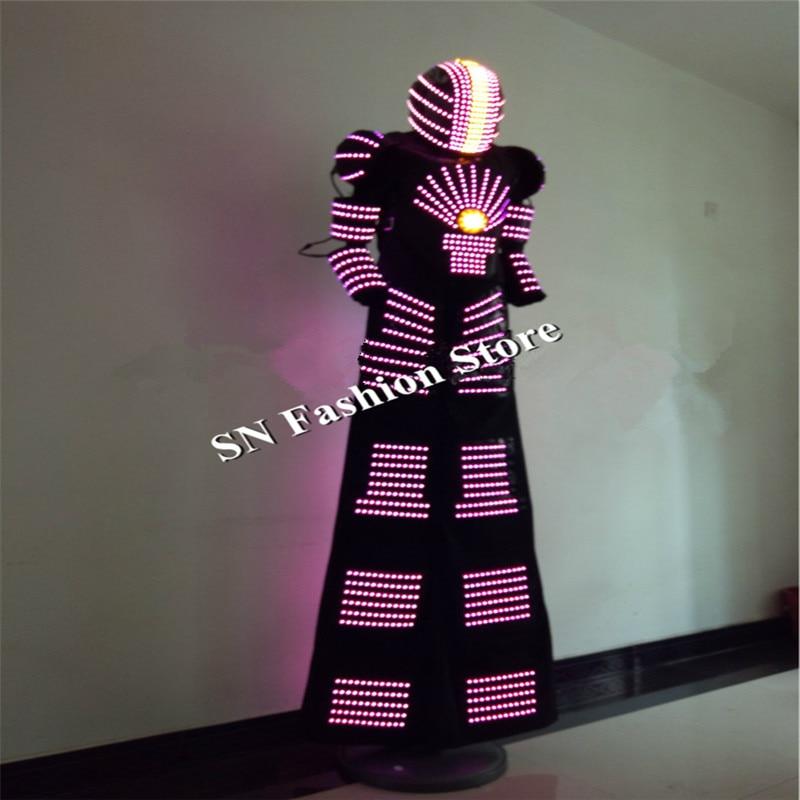 QZ07 RGB change color LED Robot Costume Nightclubs Party LED font b Clothing b font Light