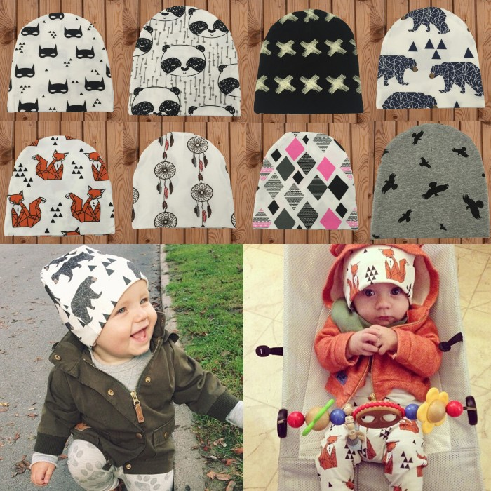 Brand Baby Hat Knit Cotton Cartoon Bear Batman Print Baby Caps For
