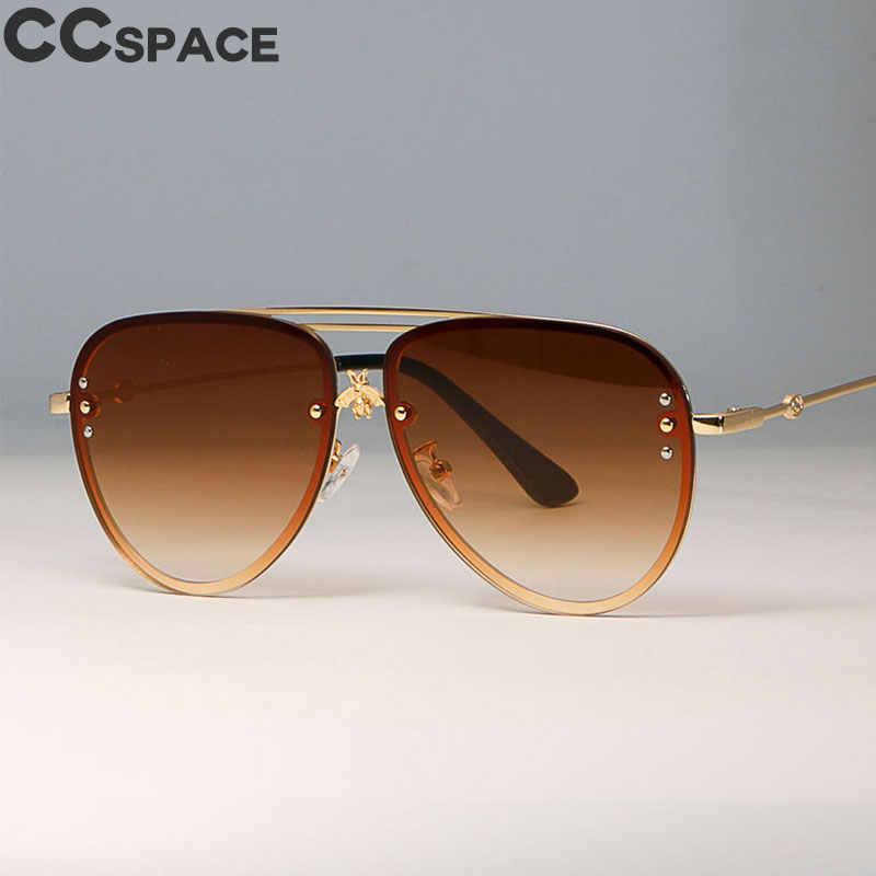 ee420ce23b Luxury Little Golden Bee pilot Sunglasses Men Women Grey Shades CCSPACE  Vintage 2018 Brand Glasses Designer