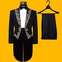 New Children's and Boys 'embroidered Black Tuxedo Hosting Event Dance Performance Children's Performance Clothes Boys Tuxedo