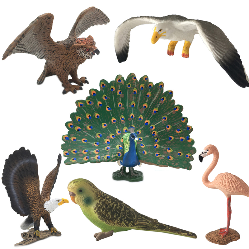 1 pc Mini Simulation Animal Model Toy Parrot Flamingo Owl Peacock Decoration Collection