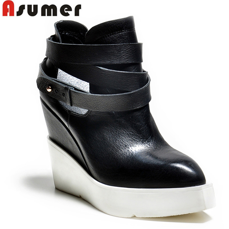 large size 2015 new brand fashion genuine leather ankle