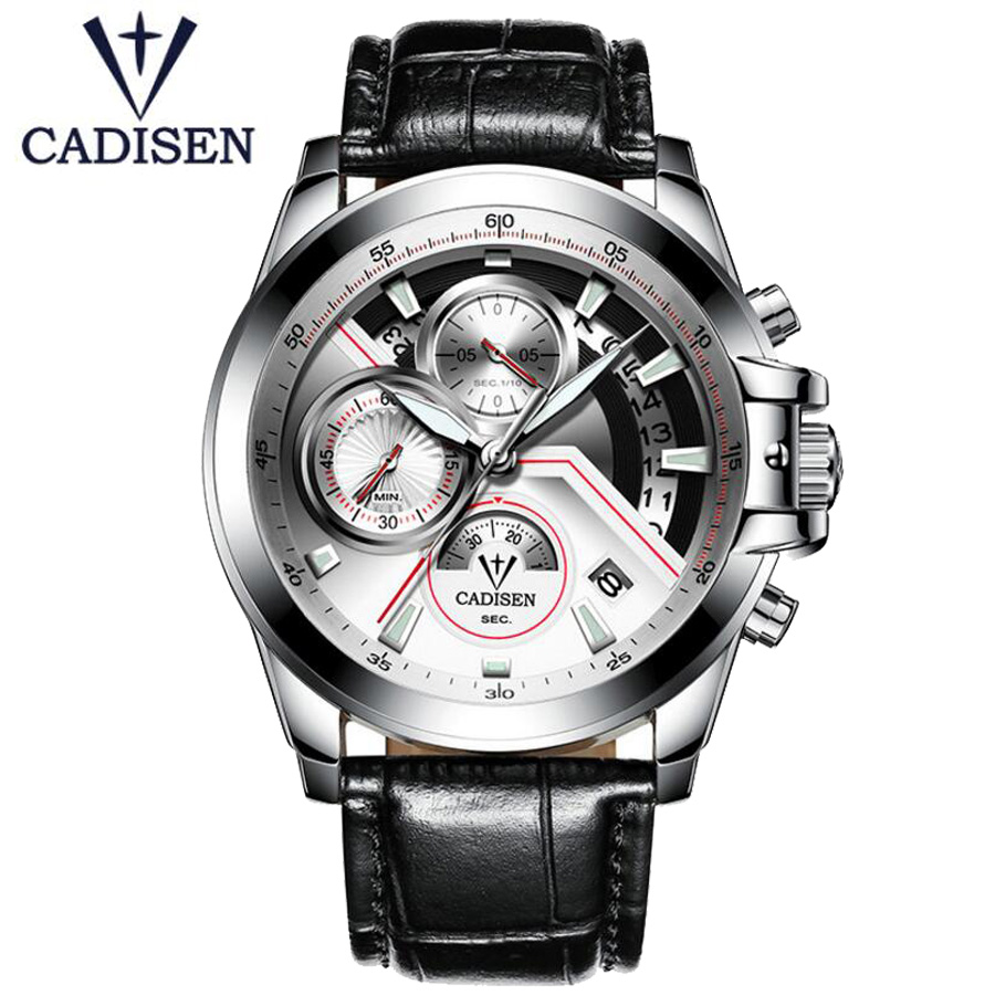 2018 CADISEN Luxury Brand Leather Strap Analog Men's Quartz Date Clock Fashion Casual Sports Watches Men Military Wrist Watch 2016 new weide luxury brand quartz watches men dual time oversize clock men sports military leather strap fashion wrist watch