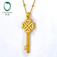 CAIMAO 24 K чистого золотые талисманы Цветок китайский узел классический любитель подарок тонкой ювелирный ключ кулон