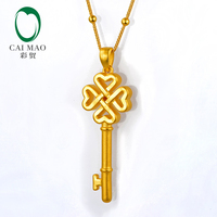 CAIMAO 24K Pure Gold Charms Flower Chinese Knot Classic Lover Gift Fine Jewelry Key Pendant