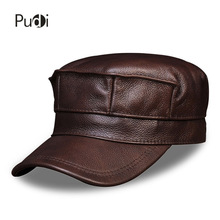 HL059 Men's genuine leather baseball cap hat brand new real cow skin leather military hats caps