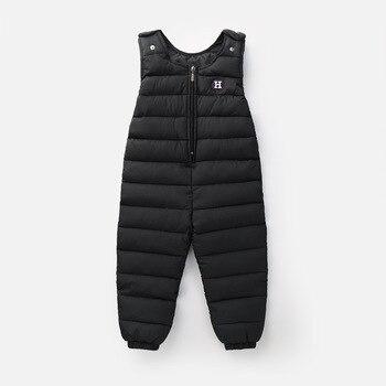 어린이 다운 재킷 바지 아기 소년 외부 가랑이 스트랩 겨울 소녀 샴 키즈 바지 두꺼운 다운 조끼 windproof