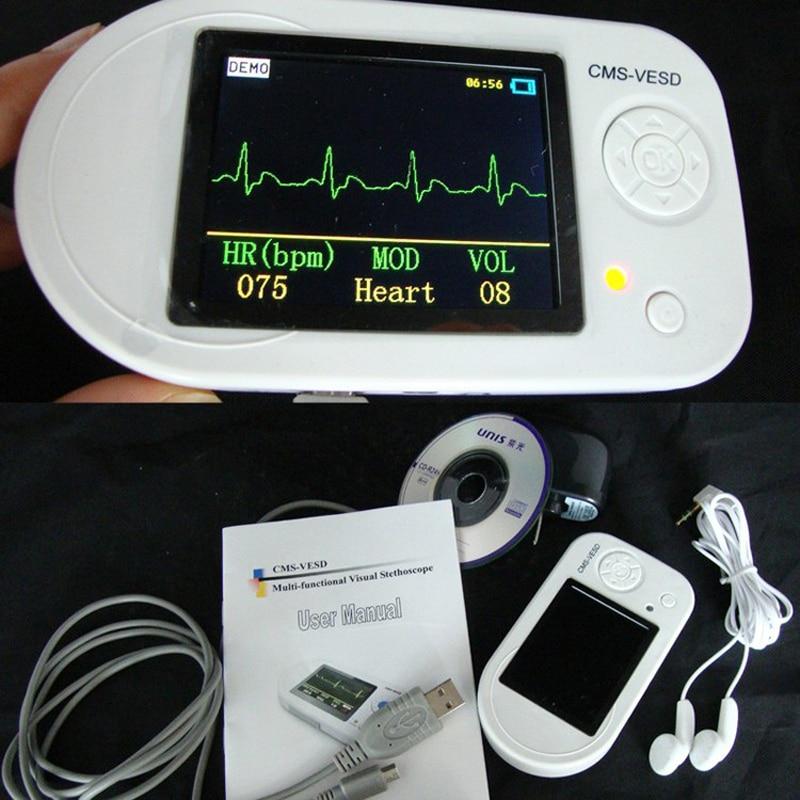 CMS-VESD Fonendoscopio New Visual Electronic Stethoscope with ECG, PR ,SPO2 PC software and review data Medical Equipment 1