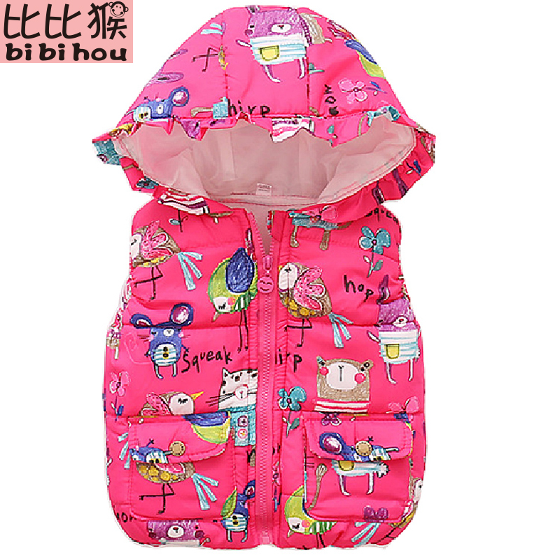 Girls vest Kids Hooded Graffiti vest Children's Down Jacket Winter Warm Vest Baby Girl Jacket Boy Sweet Waistcoat Outerwear 0-5T baby boy outerwear warm fleece vest kids hooded jacket coats autumn children clothes windproof hoody vest baby girl waistcoats