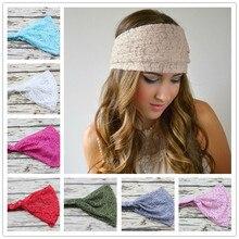 Новинка, эластичная широкая Кружевная повязка на голову для девушек и женщин, широкие тюрбаны для волос, женские банданы, повязка на голову, 1 шт