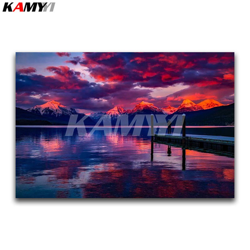 Full Square Diamond embroidery Cross stitch seaside scenery Full Diamond mosaic Snow Mountain DIY Diamond painting Sunset