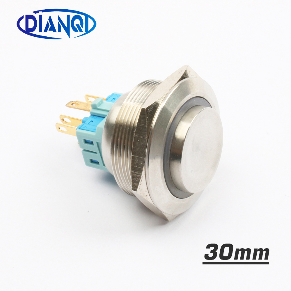 30mm Stainless steel metal push button switch high LED Ring round momentary 6 pin car switches reset latching fixation 1 x 16mm od led ring illuminated latching push button switch 2no 2nc