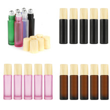 купить 5 Pcs Wood Grain Empty Lip Gloss Tubes Cover Scrub Glass Essential Oil Bottle Stainless Steel Roller Ball Perfume Bottle 10ml дешево