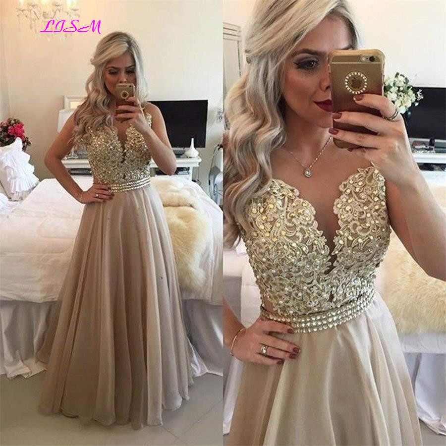 Chiffon Beaded Lace Applique Long Prom Dress Sheer Back Sleeveless Formal Gown O-Neck Floor Length Evening Dresses Vestido Festa(China)