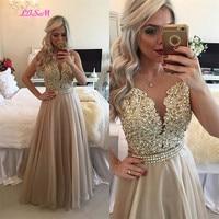 Chiffon Beaded Lace Applique Long Prom Dress Sheer Back Sleeveless Formal Gown O Neck Floor Length Evening Dresses vestido festa