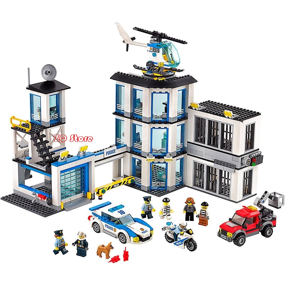 Lepin 965pcs Building Blocks Compatible Legoe 60141 City Police Station toys for Childrens Model Bricks kit Boys Gift dhl lepin 02020 965pcs city series the new police station set model building set blocks bricks children toy gift clone 60141