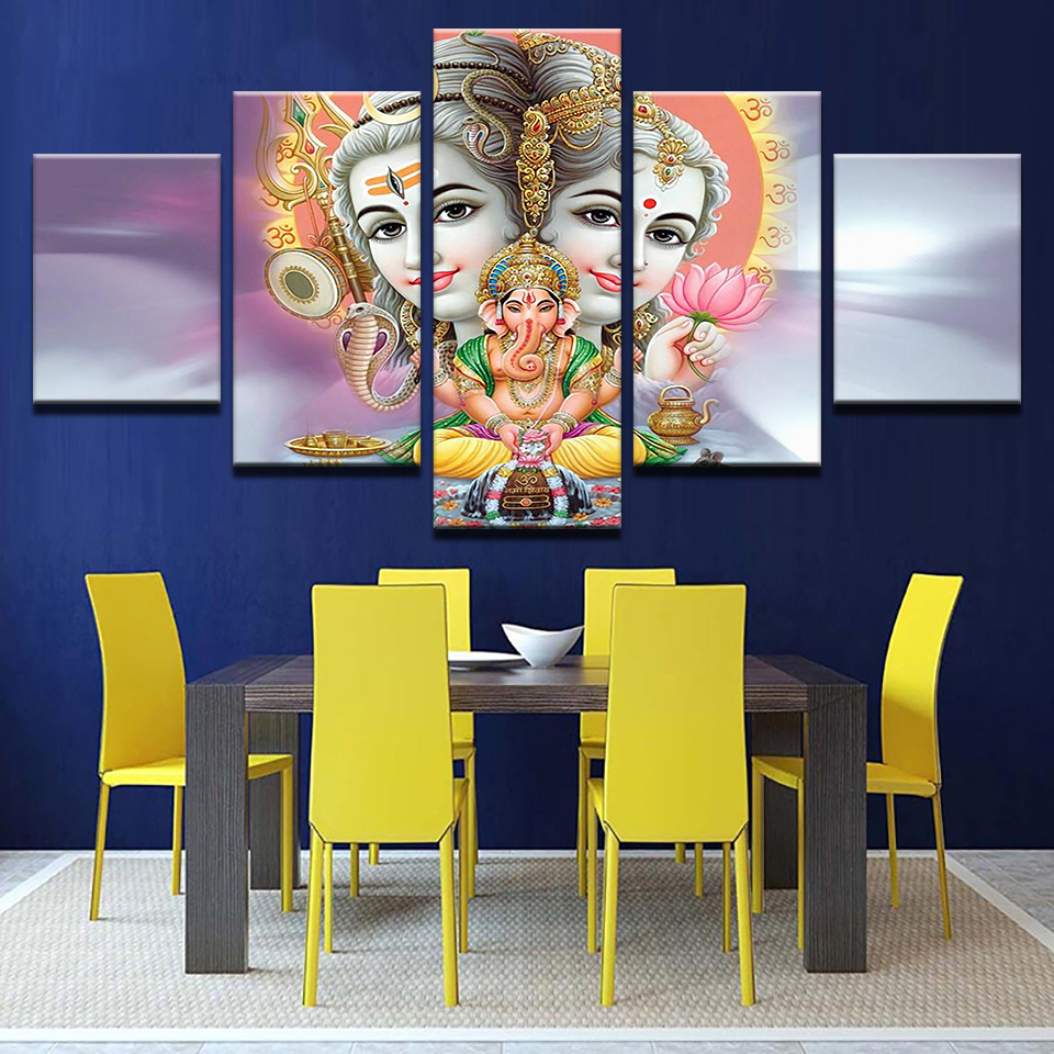 online get cheap abstract paintings india aliexpress com abstract paintings mahesvara posters 5 pieces canvas india god shiva wall art pictures home decor living
