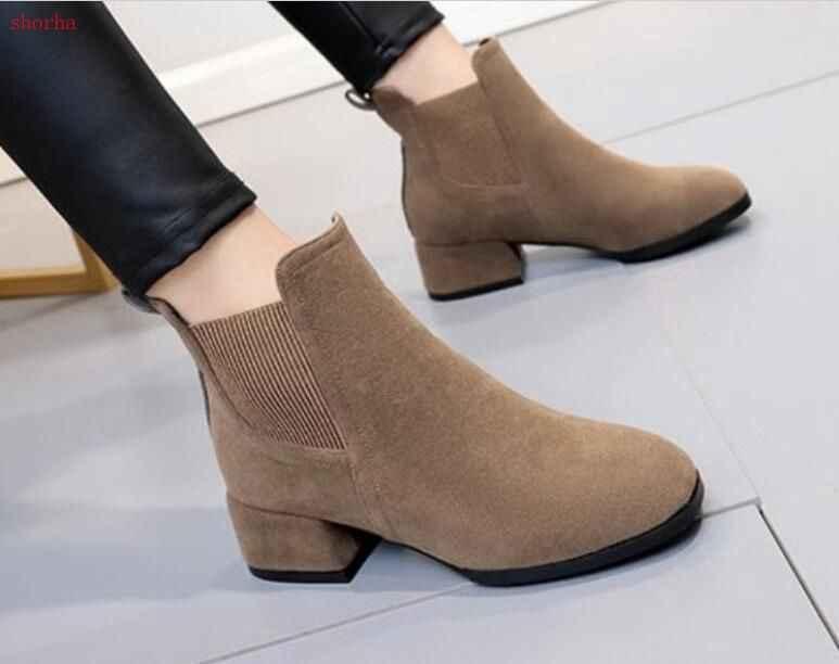 Yeni Kadın sonbahar Çizmeler Düşük Topuklu Patik Kış Kadın Ayakkabı siyah çizmeler Elastik bant yarım çizmeler Faux süet ayakkabı