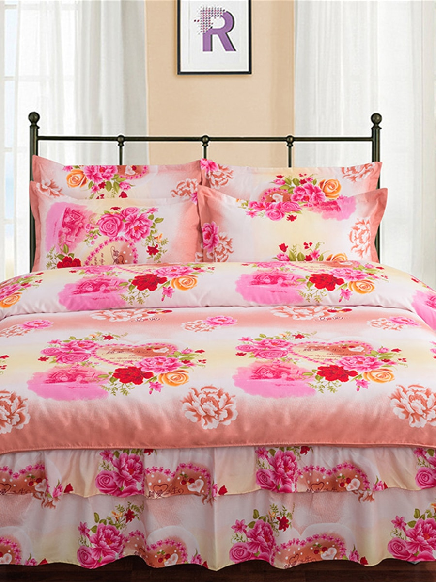 4Pcs Home Bed skirt Kit Sweet Creative Flowers Printed Double Layers Bedding Set 4Pcs Home Bed skirt Kit Sweet Creative Flowers Printed Double Layers Bedding Set