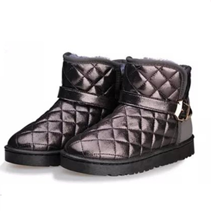 2018 Sliver High Quality Winter Women Snow Boots Buckle Strap High Top Female Winter Flat Snow Boots Basic Fur Shoes