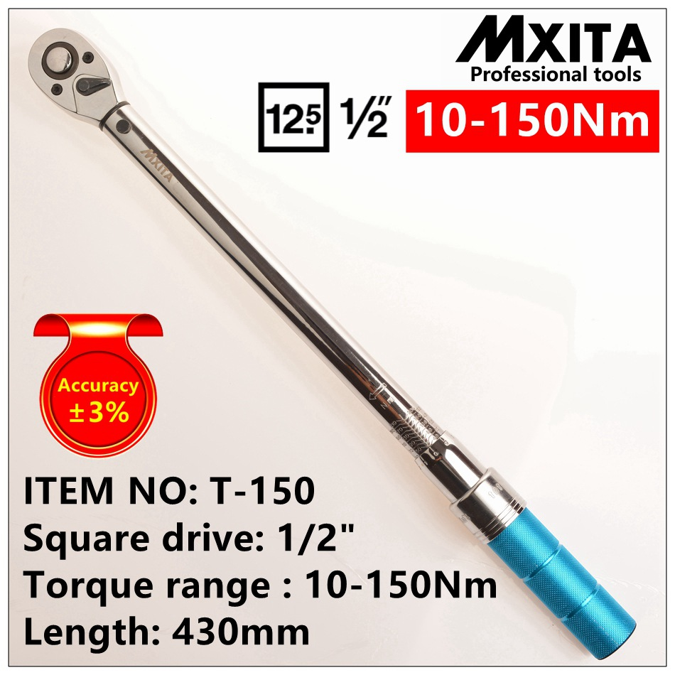 MXITA 1/2'' Drive 10-150NM 3% accuracy professional Torque Wrench Tools Click Adjustable Hand Spanner Ratchet Wrench Tool mxita 1 2 5 60n adjustable torque wrench hand spanner car wrench tool hand tool set