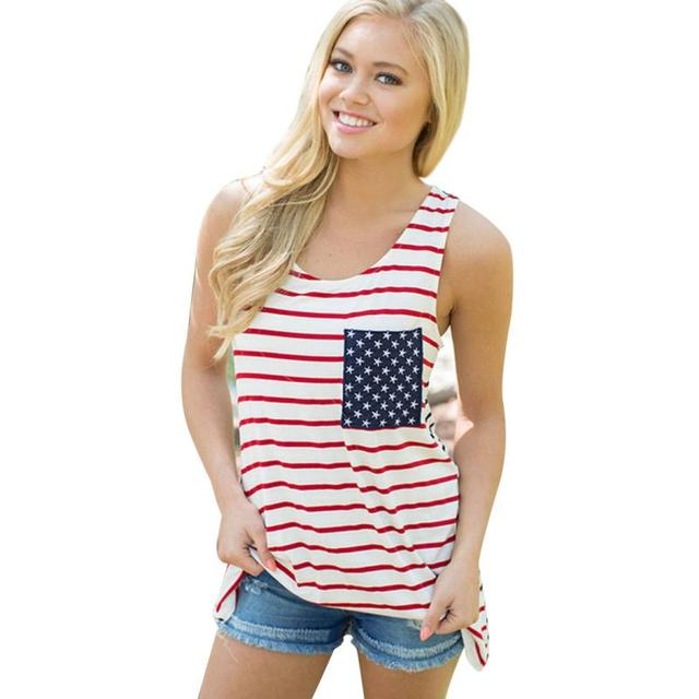 d667110358 Summer Style Fashion Tops Woman Plus Size Design America Flag Star Stripes  Print Women Tank Top with Pocket