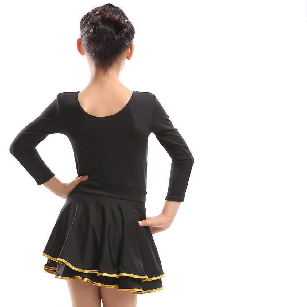 Платье для латинских танцев, юбки для бальных танцев, платья для соревнований, с длинным рукавом, черная, розовая, красная, цельная юбка для выступлений