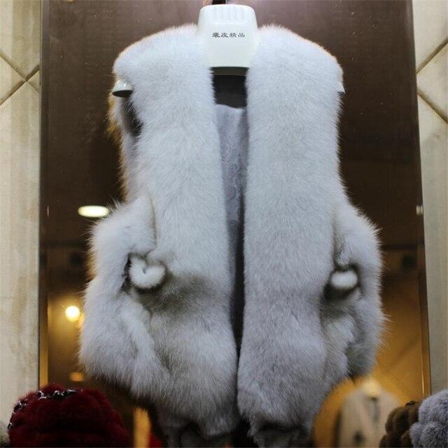 Autumn Winter Genuine Real Natural Fox Fur Vest Women's Full Pelt Waistcoat Warm Fashion Short Gilet 160803-2