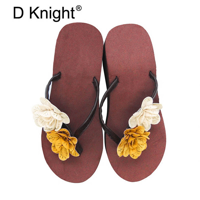 4234535fa Women s Slides Flower Decoration Sandals Fashion Summer Beach Slippers  Platform Casual Shoes Woman for Vacation Slip On Creepers